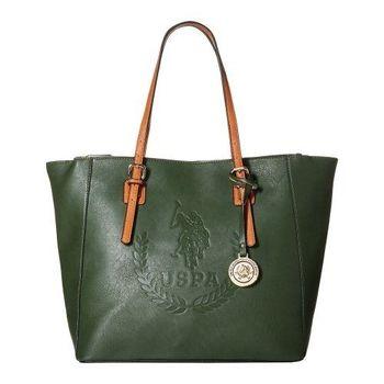 US Polo 2016女時尚大馬球標誌壓紋獵綠色手提包預購)