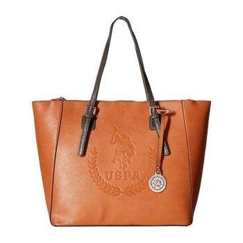 US Polo 2016女時尚大馬球標誌壓紋白蘭地色手提包(預購)