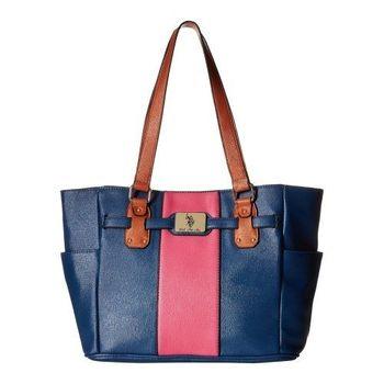 US Polo 2016女時尚馬球標誌寶藍粉拼塊手提包(預購)