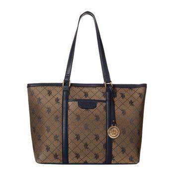US Polo 2016女時尚馬球標誌圖案提花褐寶藍色手提包(預購)