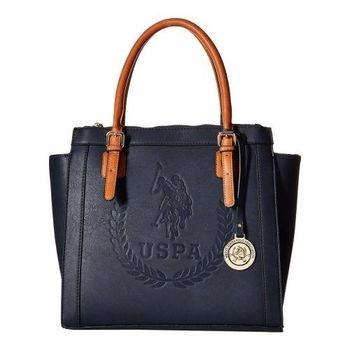 US Polo 2016女時尚馬球標誌壓紋寶藍色雙手提包(預購)