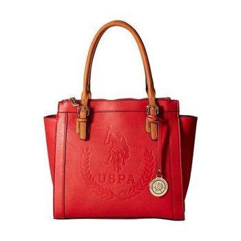 US Polo 2016女時尚馬球標誌壓紋紅色雙手提包(預購)