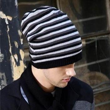 【米蘭精品】針織毛帽條紋雙色工藝羊毛男帽子