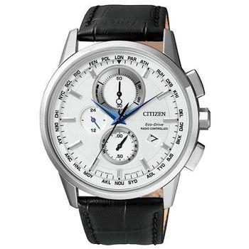 CITIZEN Eco-Drive 全新進化版萬年曆時尚五局電波腕錶-皮革-AT8110-11A