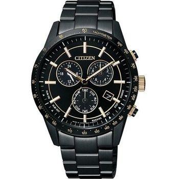 CITIZEN Eco-Drive 影武者進擊三眼計時優質腕錶-黑金-BL5495-56F