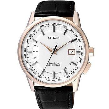 CITIZEN 潔白無瑕光動能時尚萬年曆電波腕錶-白+玫瑰金-CB0153-13A