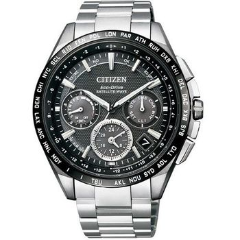 CITIZEN 霸王降臨GPS衛星對時鈦金屬光動能計時腕錶-黑-CC9015-54E