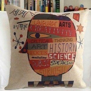 【協貿】創意卡通動漫棉麻幾何人生第一款沙發抱枕含芯