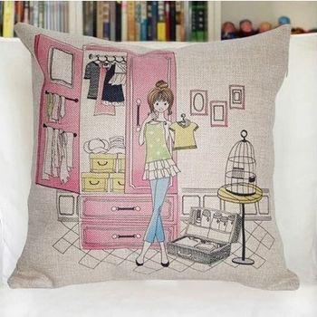 【協貿】創意卡通動漫棉麻女孩試衣服沙發抱枕含芯