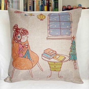 【協貿】創意卡通動漫棉麻女孩聽音樂沙發抱枕含芯