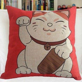【協貿】創意卡通動漫棉麻招財貓沙發抱枕含芯
