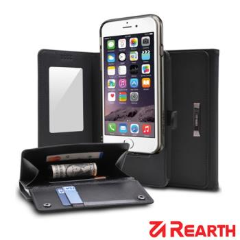 Rearth Apple iPhone 6 Plus (5.5)(Ringke Wallet)皮夾式真皮保護皮套(黑)(送保護貼)