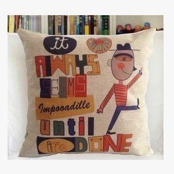 【協貿】創意卡通動漫棉麻幾何人生第三款沙發抱枕含芯