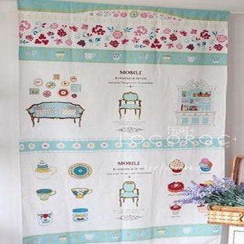 【協貿】清新蘿莉藍色廚房棉麻布藝門簾