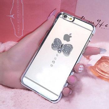 Aztec 水鑽 iPhone6/6s Plus 5.5吋 透明手機殼-銀蝶
