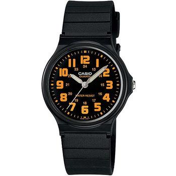CASIO 時尚玩色輕薄魅力腕錶-黑x橘(MQ-71-4B)