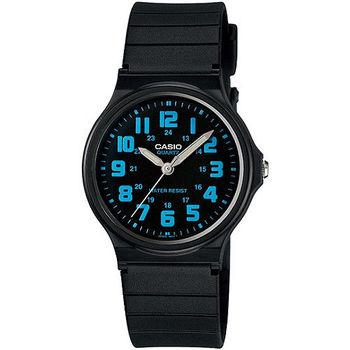 CASIO 時尚玩色輕薄魅力腕錶-黑x藍(MQ-71-2B)