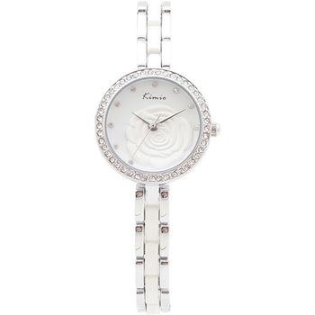 【Kimio】山茶花白色立體造型圓形女鍊錶(贈品 璀璨珍珠項鍊)