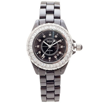【OMAX】錶圈梯鑽陶瓷圓形女錶(黑色)