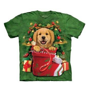 【摩達客】(預購)(大尺碼3XL)美國進口The Mountain 聖誕小黃金獵犬 純棉環保短袖T恤