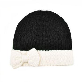 【Kate Spade】秋冬新款黑x白大蝴蝶結毛線帽