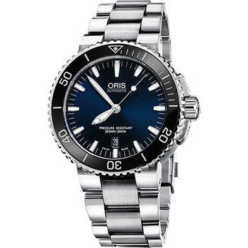 Oris Aquis 時間之海中型潛水機械錶-藍/43mm 0173376534135-0782601PEB