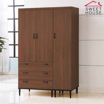 甜美家 浮雕壓紋胡桃色4尺高衣櫃