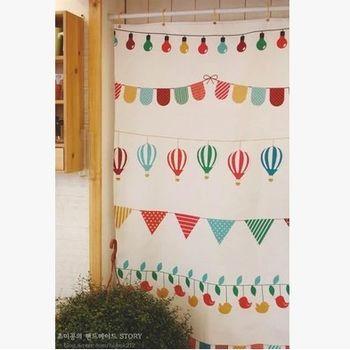 【協貿】簡約時尚宜家風卡通棉麻布藝門簾