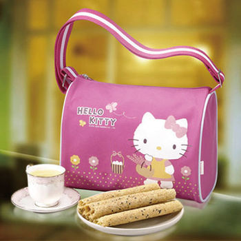 【Hello Kitty】 芝麻蛋捲禮盒-自然風(斜背包)