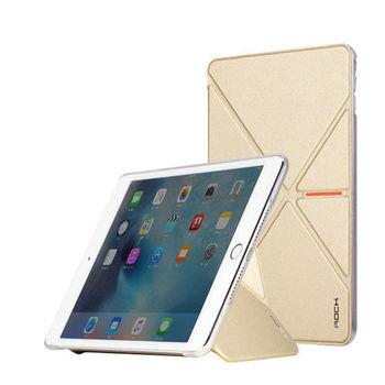 Rock Apple iPad mini4 維塔系列立體V折側翻休眠皮套(金)