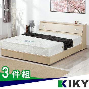 KIKY 麗莎雙人加大6尺三件組(床頭箱+床底+獨立筒床墊)