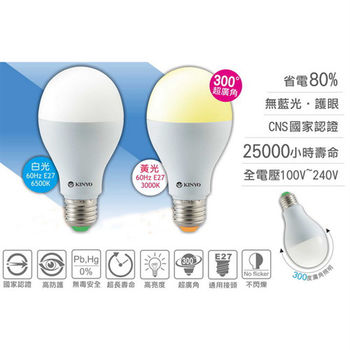 【KINYO】10W白光LED超廣角E27省電燈泡(HLED-10W)