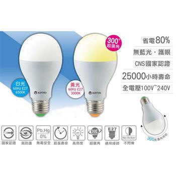 【KINYO】8W黃光LED超廣角E27省電燈泡(HLED-8Y)