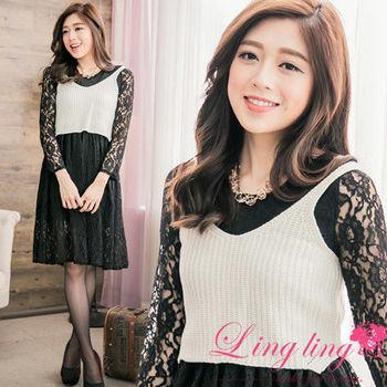 【lingling】短版毛織背心+優雅蕾絲長袖洋裝兩件式(氣質白)A2611-02