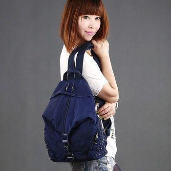 【Acorn*橡果】韓風鉚釘輕量尼龍防水後背包側肩包6529(深藍)