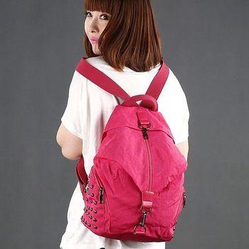 【Acorn*橡果】韓風鉚釘輕量尼龍防水後背包側肩包6529(玫紅)