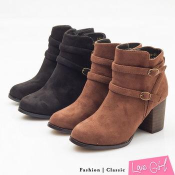 ☆Love Girl☆超韓定番款雅緻雙扣拉鍊粗跟短靴