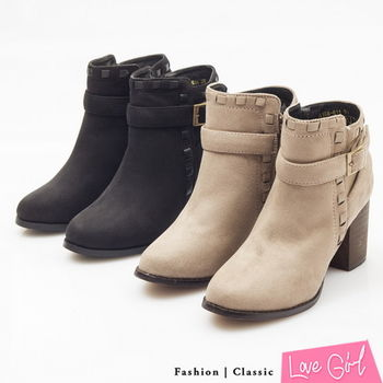 ☆Love Girl☆超韓定番款皮革穿繩滾邊拉鍊粗跟短靴