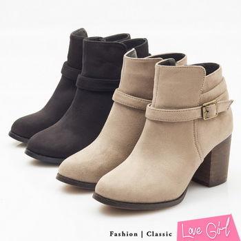 ☆Love Girl☆超韓定番款側扣拉鍊粗跟短靴