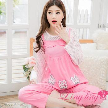 【lingling日系】全尺碼--滿版點點背心後綁結孕婦裝居家長袖二件式睡衣組(甜美粉)A2528-01
