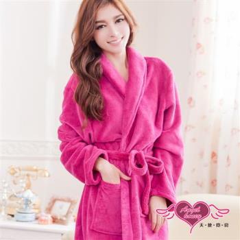 天使霓裳 睡袍 法式甜心柔情 珊瑚絨浴袍(紫紅F)