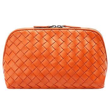 BOTTEGA VENETA 經典編織小羊皮拉鍊萬用化妝包(大-鮮橙橘)