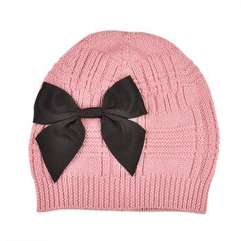 【Kate Spade】秋冬新款粉紅甜美大蝴蝶結羊毛毛線帽