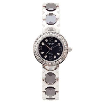【OMAX】璀璨風華陶瓷圓形女錶(黑色)