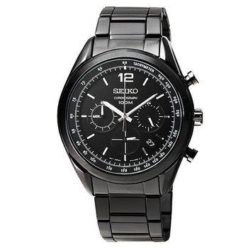 SEIKO日系精工黑鷹三眼計時錶-IP黑 / SSB093P1 6T63-00J0SD