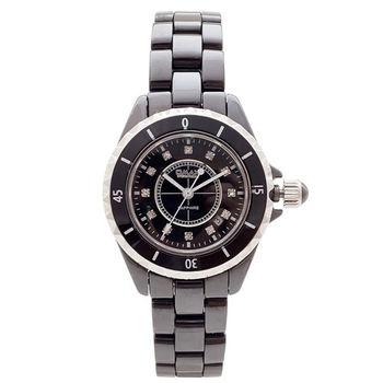 【OMAX】時間晶鑽陶瓷圓形女錶(黑色)