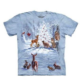 【摩達客】(預購)美國進口The Mountain 聖誕動物群 純棉環保短袖T恤