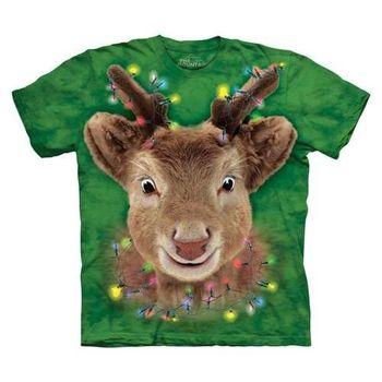 【摩達客】(預購)美國進口The Mountain 聖誕燈麋鹿 純棉環保短袖T恤