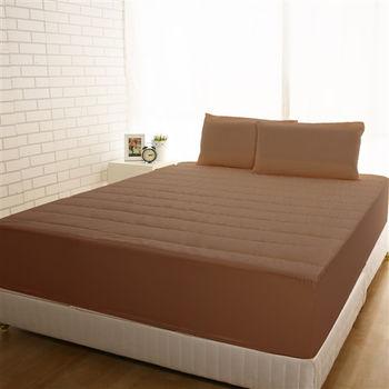【HomeBeauty】竹炭3M防潑水床包式保潔墊-加大+枕套*2(大地咖)