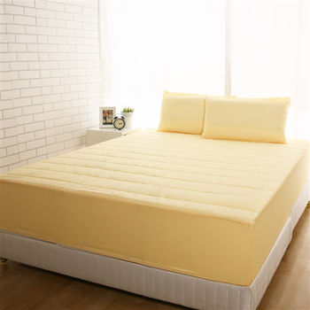 【HomeBeauty】竹炭3M防潑水床包式保潔墊-加大(陽光黃/無枕套)